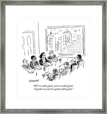 A Woman Speaks Across The Table At A Full Board Framed Print
