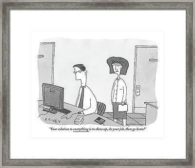 A Woman Speaks To A Man Who Is Working Framed Print