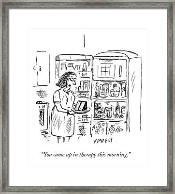 A Woman Speaks To A Piece Of Cake She Has Pulled Framed Print by David Sipress