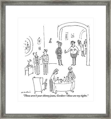 A Woman Speaks To Her Husband At A Cocktail Party Framed Print by Michael Maslin