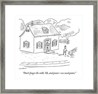 A Woman Speaks To Her Husband From The Doorway Framed Print by Michael Maslin