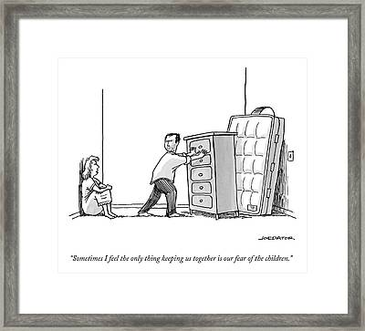 A Woman Speaks To Her Husband Who Is Barricading Framed Print