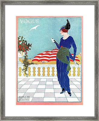 A Woman Standing On A Terrace Framed Print