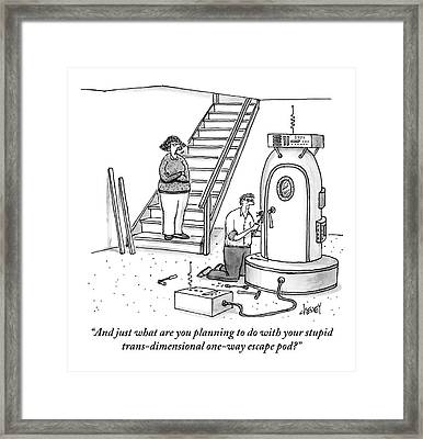 A Woman Stands At The Foot Of A Stair Case Framed Print