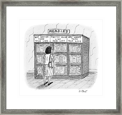 A Woman Stands In Front Of A Bookshelf Of Memoirs Framed Print by Roz Chast