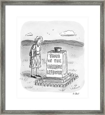 A Woman Stands In Front Of A Tomb With A Bowl Framed Print