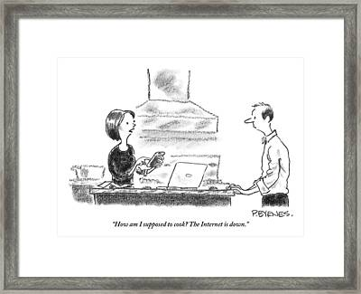 A Woman Stands In The Kitchen Helplessly Framed Print by Pat Byrnes