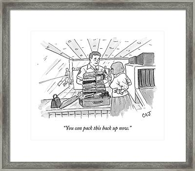 A Woman Stands Irritated Before Her Open Suitcase Framed Print