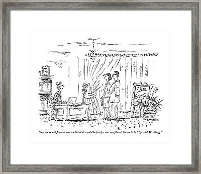 A Woman Stands With Her Fiancee At The Desk Framed Print