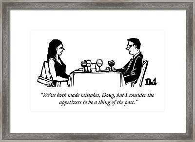 A Woman Talks To A Man While They Are Eating Framed Print