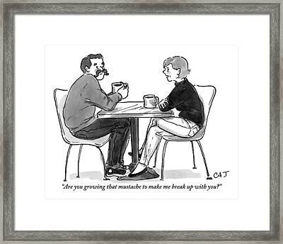 A Woman Talks To A Man With A Mustache Framed Print