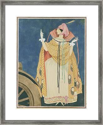 A Woman Tying A Cape Framed Print
