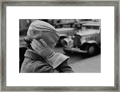 A Woman Wearing A Beret And Gloves Framed Print