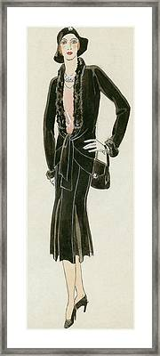 A Woman Wearing A Black Suit Framed Print