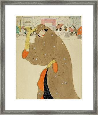 A Woman Wearing A Brown Coat Framed Print by Helen Dryden