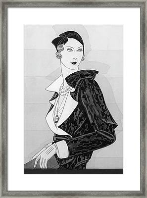 A Woman Wearing A Cap By Marie-alphonsine Framed Print