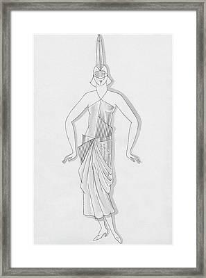 A Woman Wearing A Costume Framed Print by Robert E. Locher