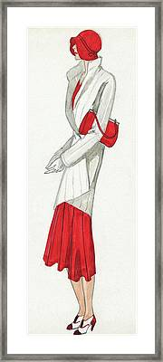 A Woman Wearing A Ermine Coat And Red Dress Framed Print by  David