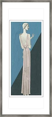 A Woman Wearing A Gown By Mainbocher Framed Print by Eduardo Garcia Benito