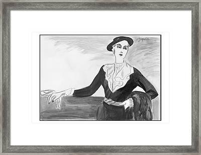A Woman Wearing A Jay-thorpe Dress Framed Print