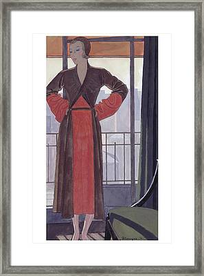 A Woman Wearing A Lanvin Dress Framed Print by Pierre Mourgue