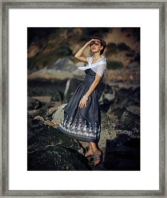 A Woman Wearing A Linen Dress Framed Print by Frances Mclaughlin-Gill