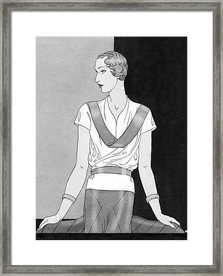 A Woman Wearing A Lucille Paray Blouse Framed Print by Douglas Pollard