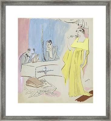 A Woman Wearing A Maggy Rouff Gown Facing Two Men Framed Print by Marcel Vertes