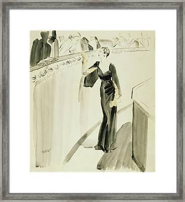A Woman Wearing A Mainbocher Dress Framed Print by Rene Bouet-Willaumez