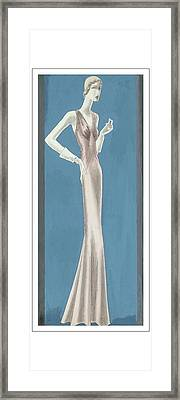 A Woman Wearing A Mainbocher Evening Gown Framed Print by Eduardo Garcia Benito