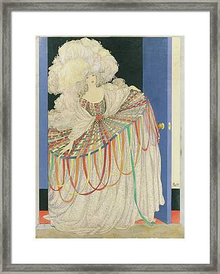 A Woman Wearing A Multicolored Pannier Dress Framed Print