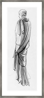A Woman Wearing A Paquin Wrap Framed Print by Porter Woodruff