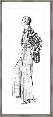 A Woman Wearing A Plaid Outfit Framed Print by Porter Woodruff