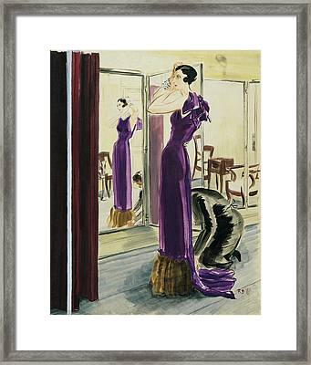 A Woman Wearing A Purple Augustabernard Evening Framed Print by Ren? Bou?t-Willaumez