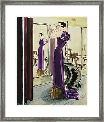 A Woman Wearing A Purple Augustabernard Evening Framed Print