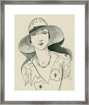 A Woman Wearing A Rose Descat Hat Framed Print