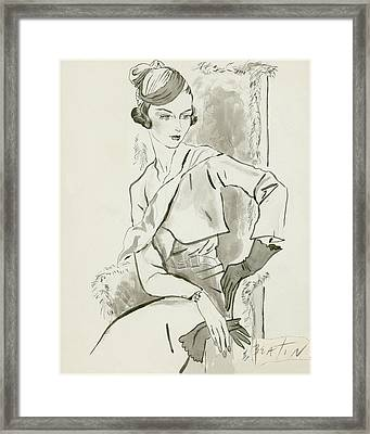 A Woman Wearing A Roux Turban Framed Print by Cecil Beaton
