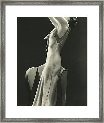 A Woman Wearing A Satin Gown Framed Print
