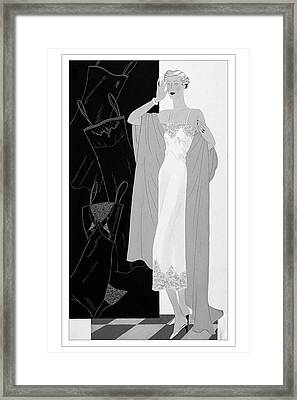 A Woman Wearing A Slip Framed Print by Eduardo Garcia Benito