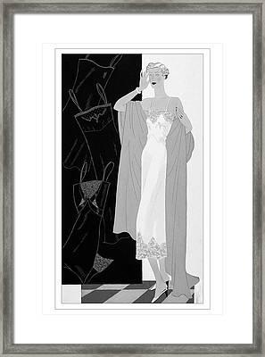 A Woman Wearing A Slip Framed Print by Eduardo Garcia Benito