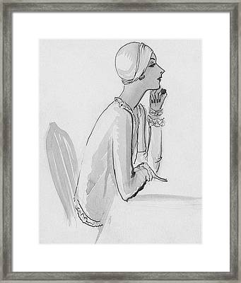 A Woman Wearing A Turban Framed Print by Porter Woodruff