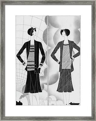 A Woman Wearing An Ensembles By Lelong And Hats Framed Print by Raymond Bret-Koch