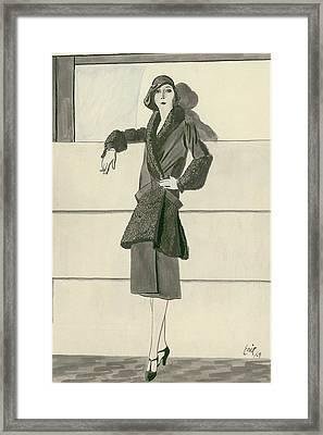 A Woman Wearing Designer Clothing Framed Print