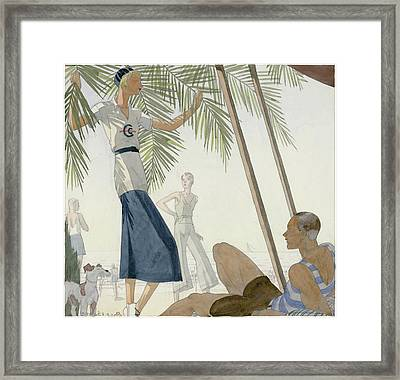 A Woman Wearing Patou Clothing At The Beach Framed Print by Jean Pages