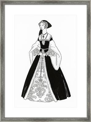 A Woman Wearing Tudor Style Clothing Framed Print
