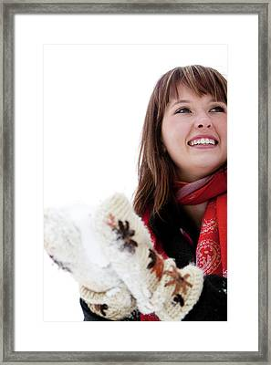 A Woman Wears A Red Scarf And Packs Framed Print