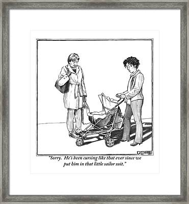 A Woman With A Baby Carriage Addresses Another Framed Print