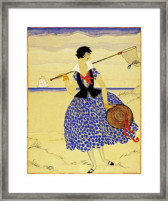 A Woman With A Crab Net Framed Print