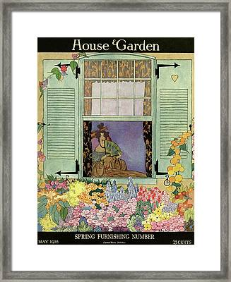 A Woman With A Fan Framed Print