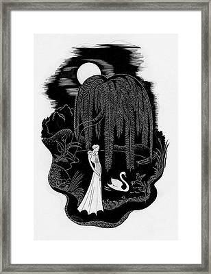 A Woman With A Swan Framed Print by  Libiszewski